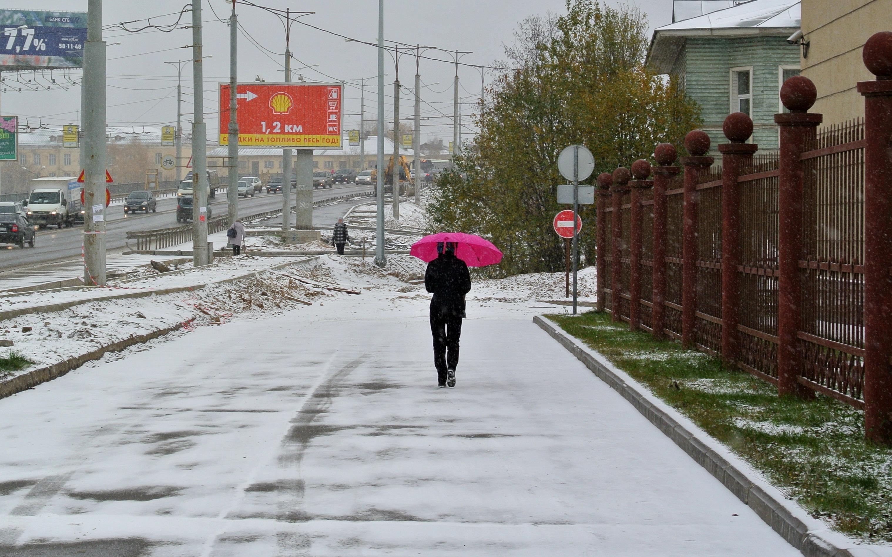 Первый снегопад в Вологде и его последствия
