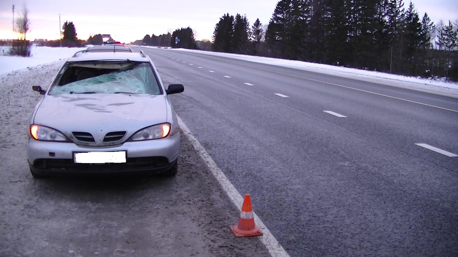 В Сокольском районе глыба льда слетела с фуры и разбила стекло легковушки