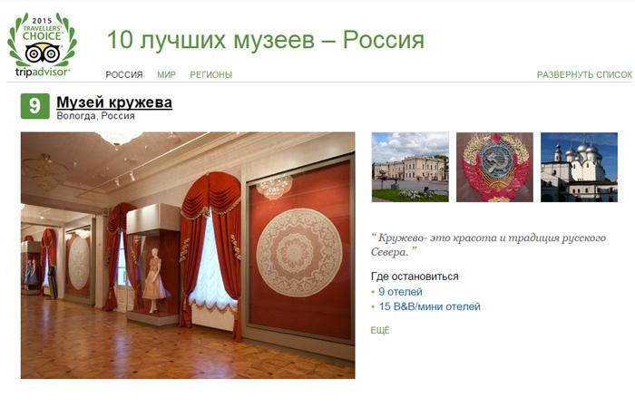 Музей кружева вошел в десятку лучших музеев России