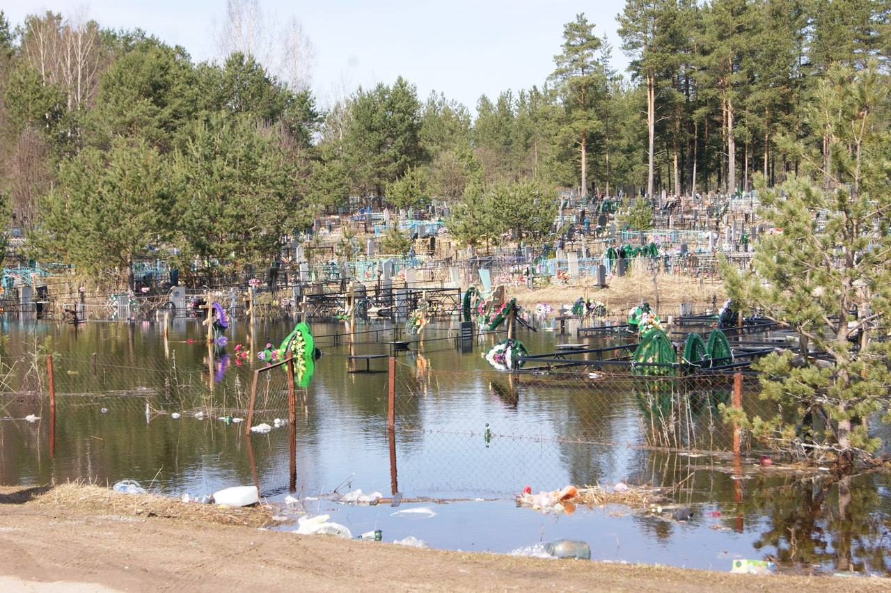 В Чагоде половодьем затопило кладбище