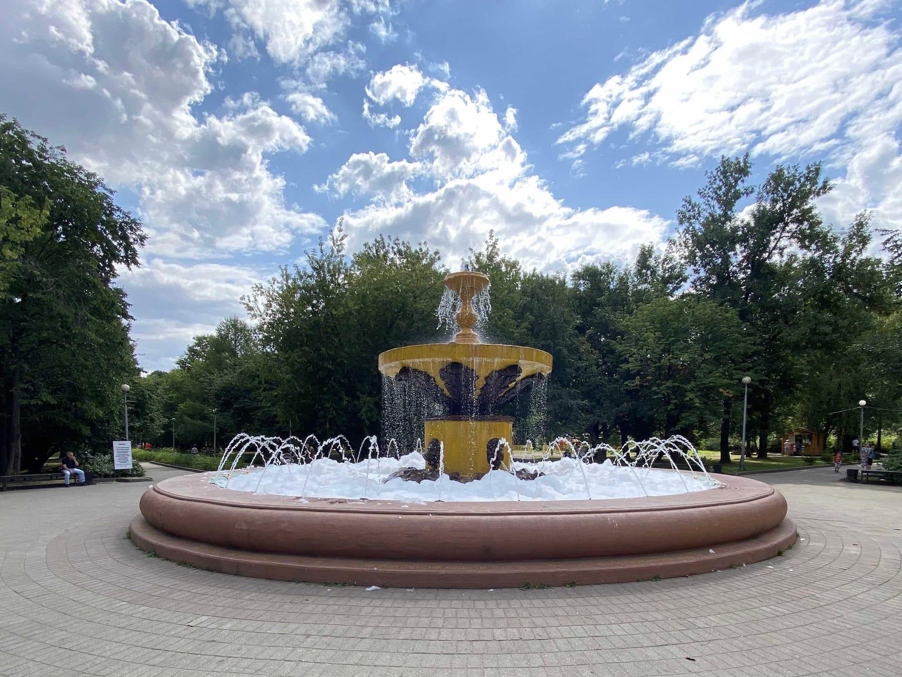 «Пенная вечеринка»: вфонтан Комсомольского парка вЧереповце вылили моющее средство