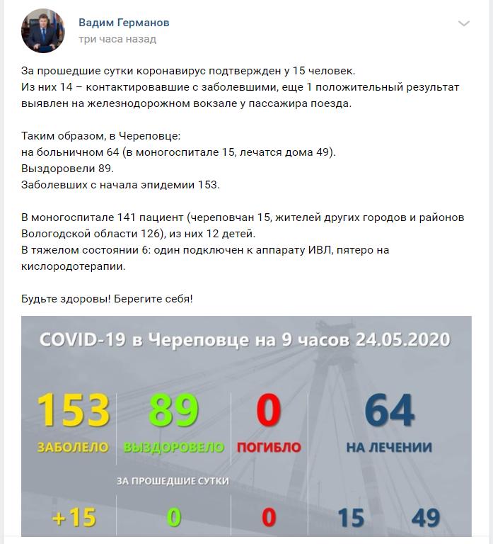 Губернатор области и мэр Череповца сообщают разные данные о количестве новых заболевших COVID-19 в городе