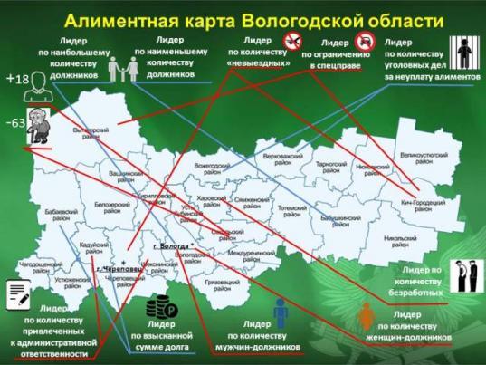 Приставы составили «алиментную» карту Вологодской области