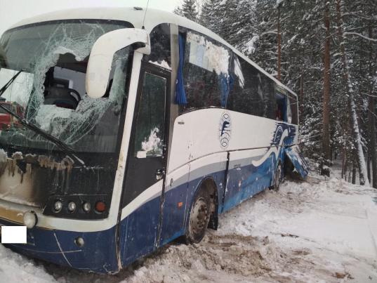 В Чагодощенском районе автобус с пассажирами съехал с дороги в кювет