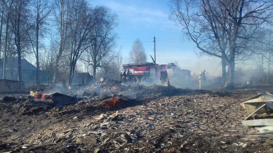 В деревне Шепелево Череповецкого района сгорело шесть дачных домов, три бани и гараж
