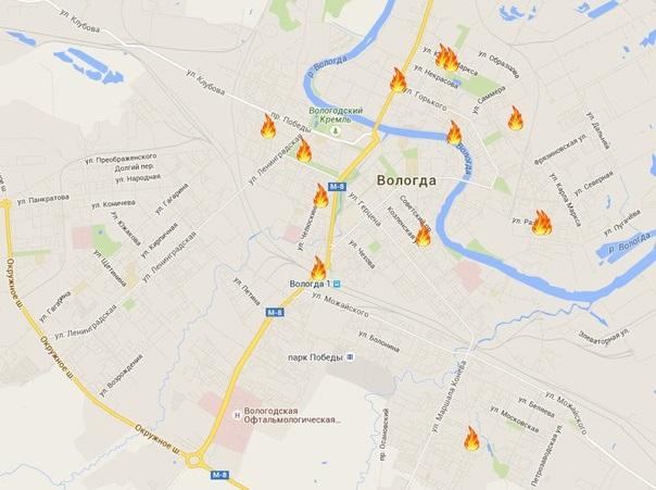 За полтора года в исторической части Вологды устроили 15 поджогов