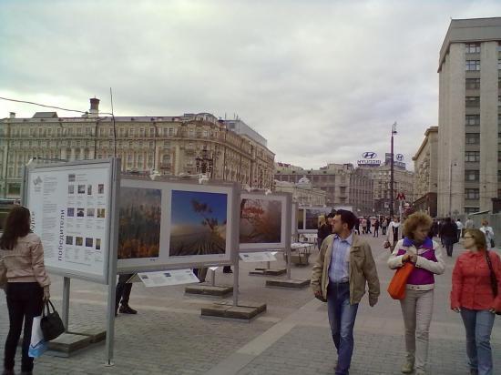 Это выставка работ фотографов на манежной. Пейзажи. Все смотрят, активно обсуждают.
