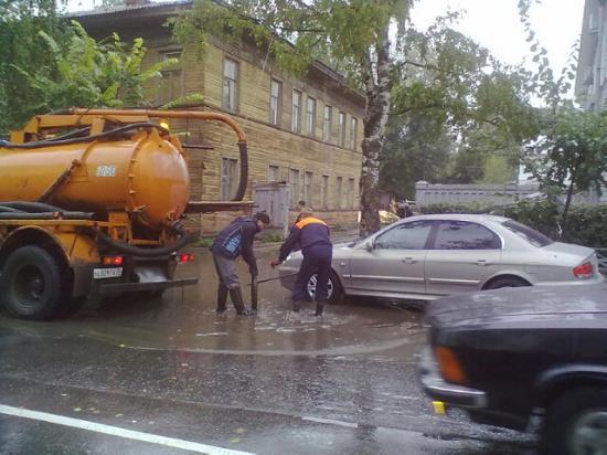 Вологду заливает дождевой водой