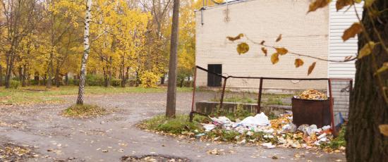 А вот и свалка мусора, которая портит вид парка