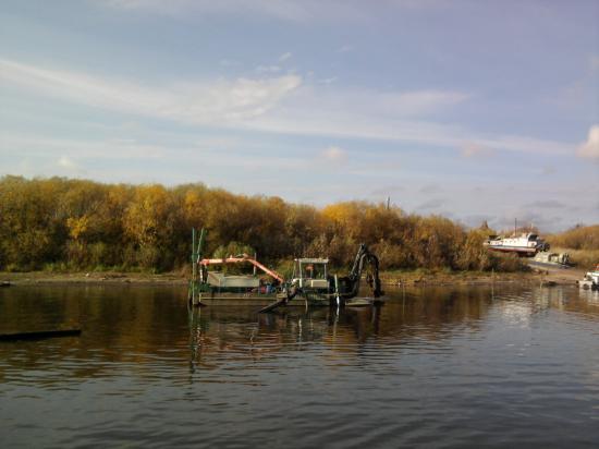 примерно посередине реки в метрах 8-10 друг от друга стоят деревянные колья