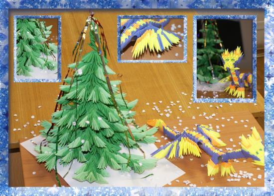 Наша елка-невеличка Сделана из модулей, И дракончик рядом с ней –  Символ Года Нового.