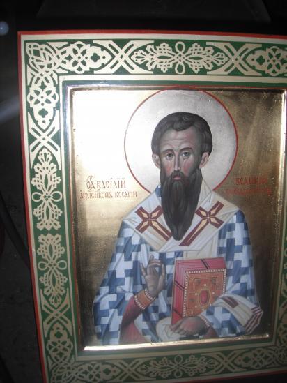 подаренная  прихожанами храму икона Василия Великого.