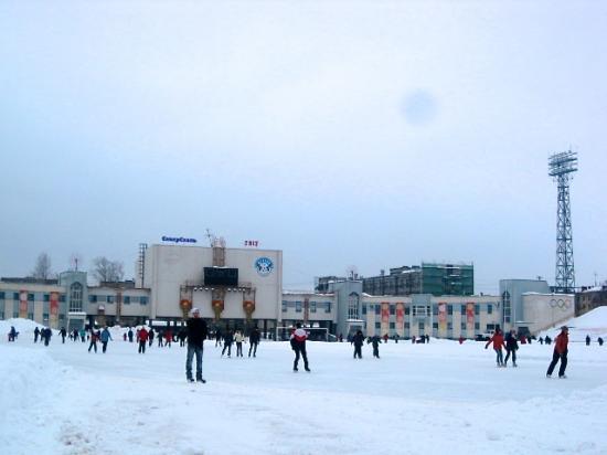 Массовое катание на коньках на стадионе.