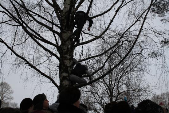 Подростки не удержались и полезли на деревья, чтобы увидеть как горит чучело.