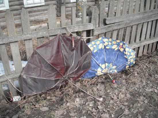 Рядом с местом трагедии остались сломанные зонты.