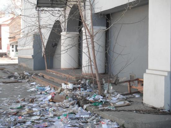 Это, похоже, не ветром столько надуло мусора.