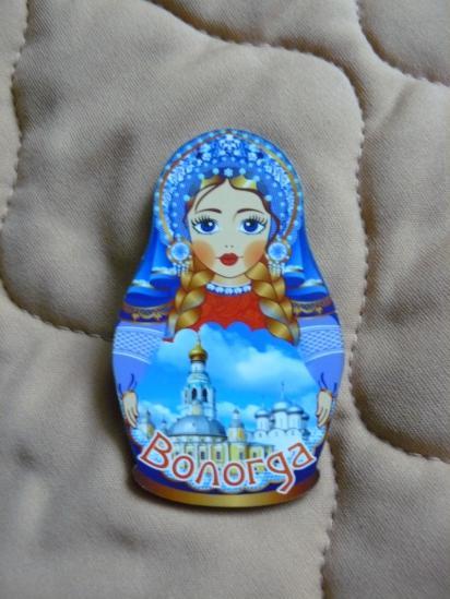 Например, такая матрёшка. Она довольно типичная - на ней самые тиражируемые символы - Вологодский кремль и Софийский собор