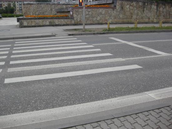 Сбежавшая полоска с перехода в Череповце