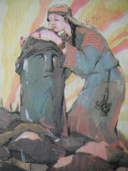примерно так выглядел каменный идо,л  найденный при расчистке русла Шексны в 1893 году.рисунок А. Кузнецова.