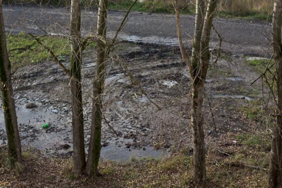 .  Вот в этом месте «Водоканал» оставляет свою штабную машину, настолько часто, что появилась дорога. Здесь вообще-то раньше был «типа газон», но благодаря МУП «Водоканалу» мусорные машины другого муниципального предприятия «Экопрома»  теперь здесь лихо