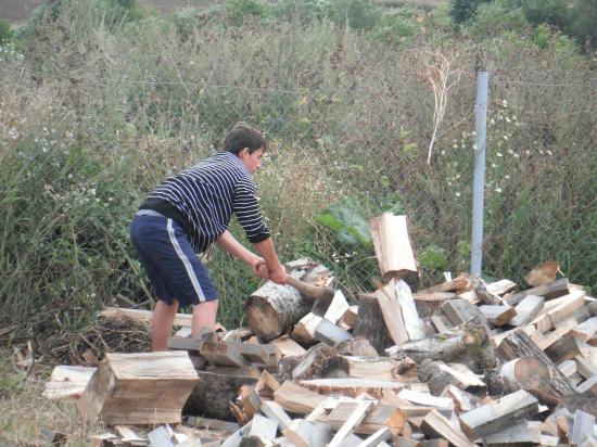 Летом ребята  помогли расколоть дрова