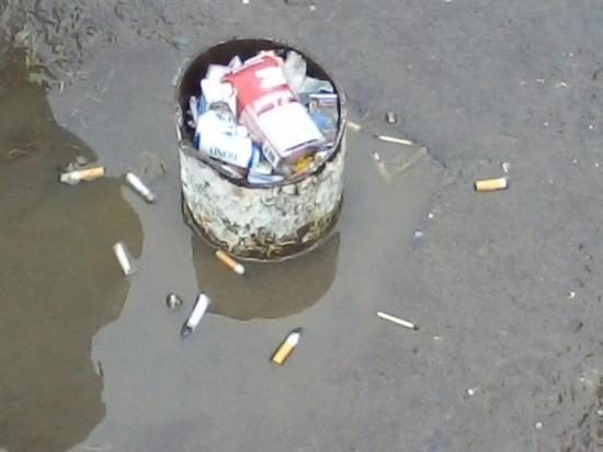 А это остатки опор остановочного павильона. В них аккуратные граждане пытаются складывать мусор.