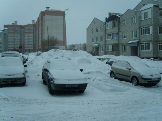 А эта куча снега так и останется не вывезена, так как её со всех сторон облепили мухи. Тьфу, машины, владельцы которых игнорировали...