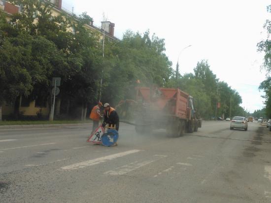 Дорожные работы на проспекте Победы