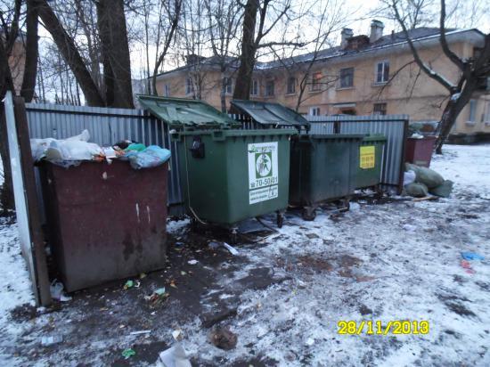 Московская 25, понедельник, после вывоза части контейнеров. Проблема в том, что некоторые из этих контейнеров вывозят лишь 2 раза в неделю.