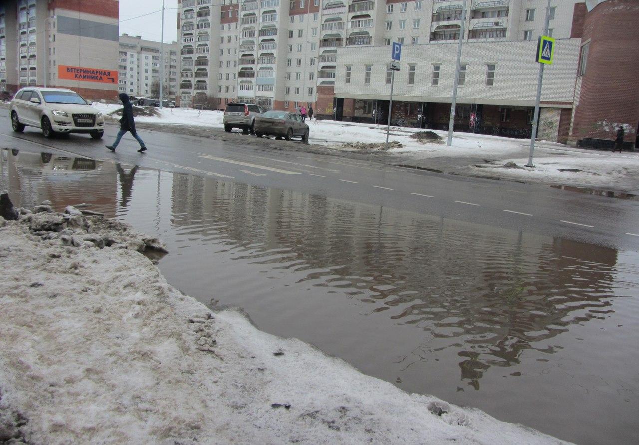Капитально отремонтированная улица Карла Маркса в Вологде ушла под воду