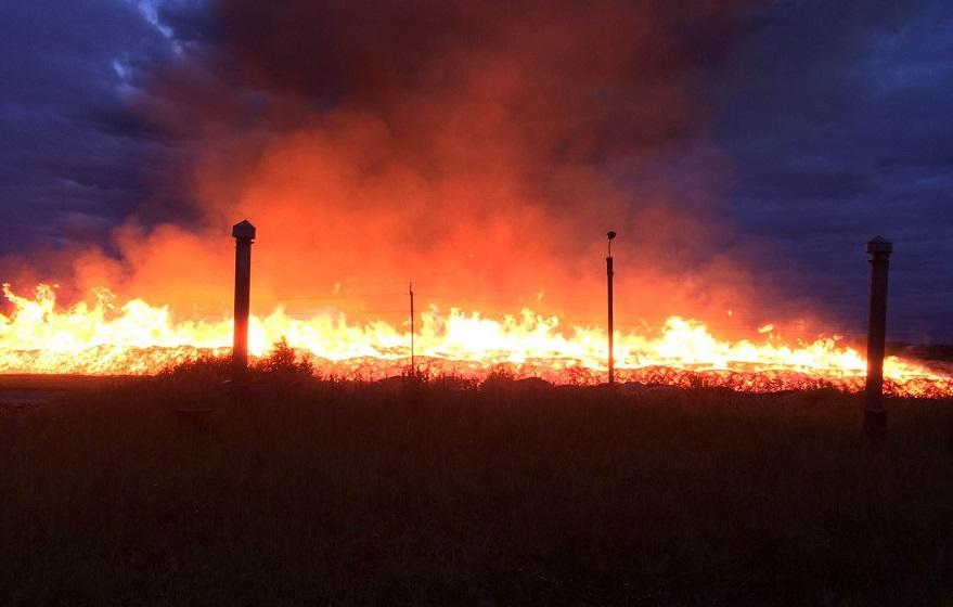 В Устюженском районе сгорел склад лесопильных отходов