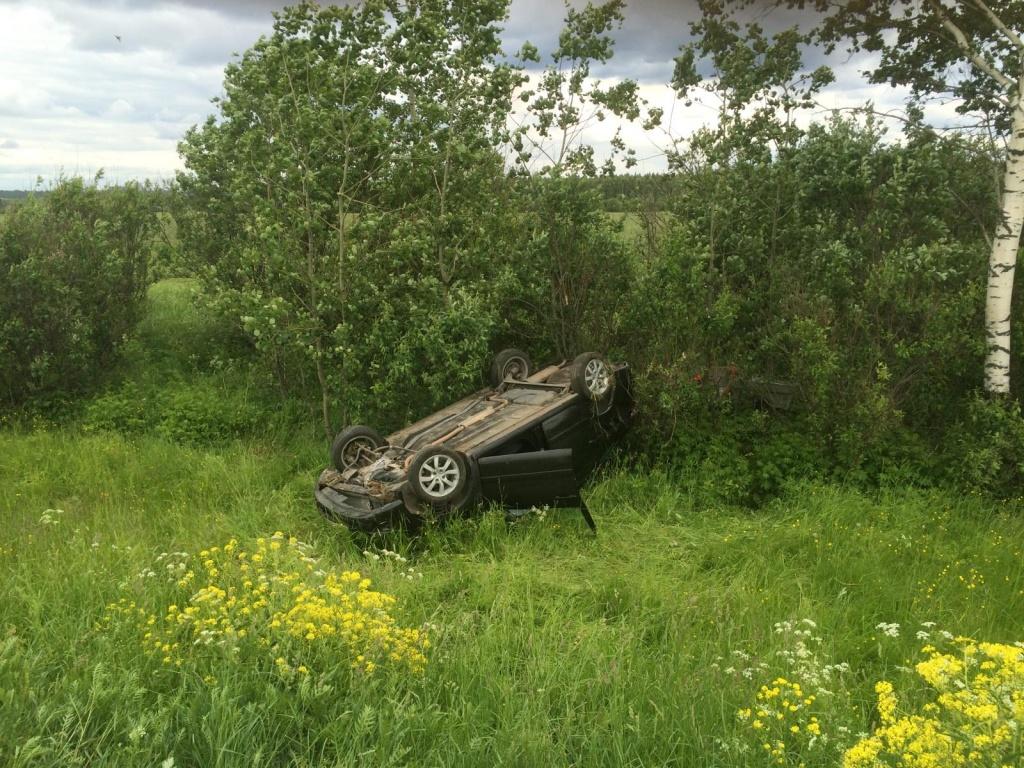 «Лада Гранта» с прицепом опрокинулась в кювет в Череповецком районе
