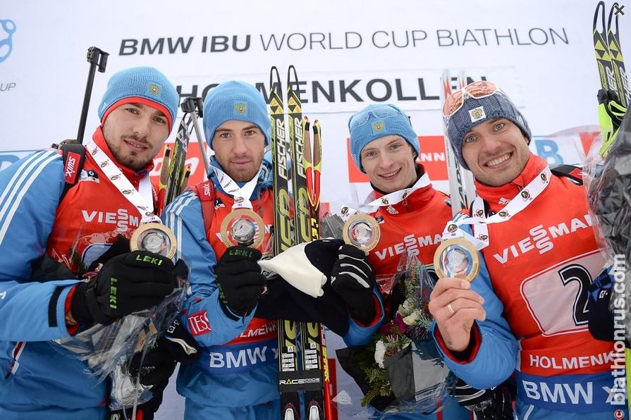 Российская сборная выиграла эстафету на этапе Кубка мира по биатлону