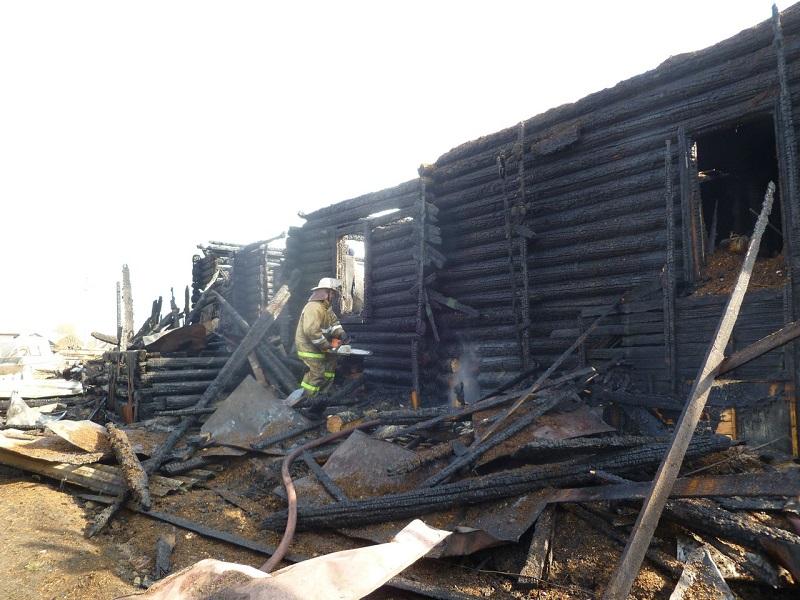В Устье во время пожара в деревянном доме погибли отец и сын