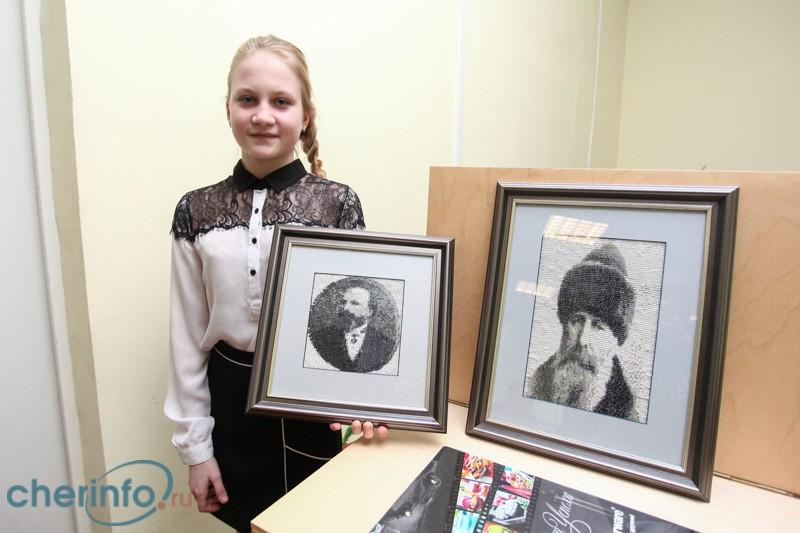 Череповецкая школьница вышила бисером портреты Милютина и Верещагина