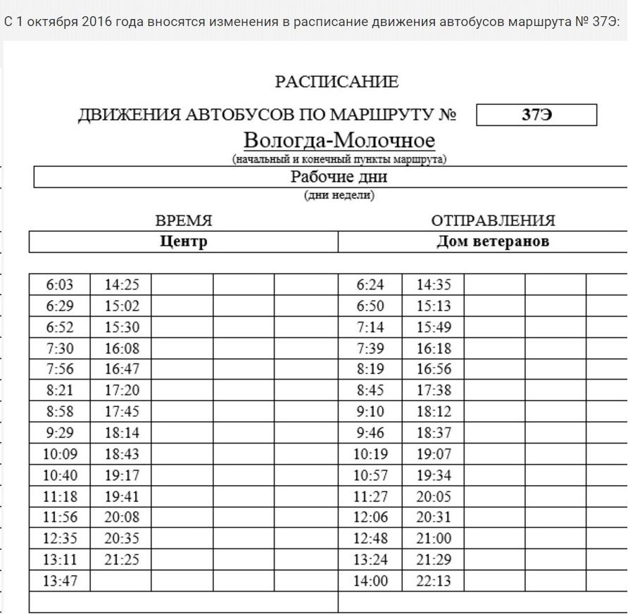 Расписание 37 автобуса вологда новое 2018