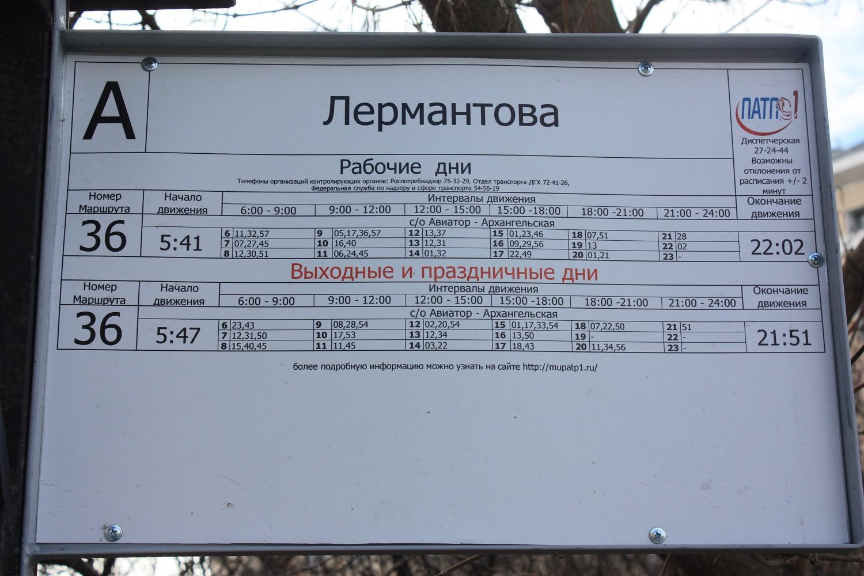 """ПАТП-1 в Вологде установило на остановку расписание со словом """"Лермантова"""""""