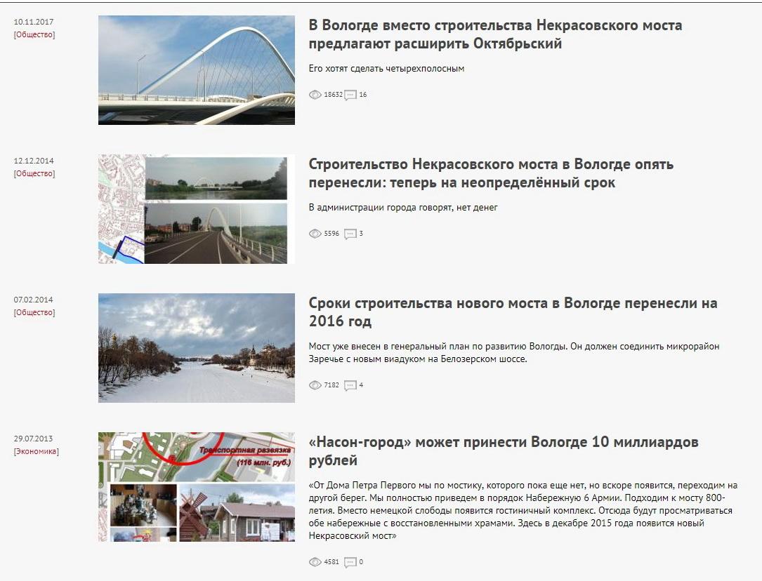 Старые песни о главном: в Вологде снова обещают построить Некрасовский мост