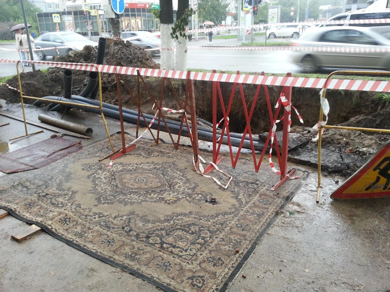 Улицу Герцена в Вологде снова перекопают: теперь там будут прокладывать участок ливневой канализации