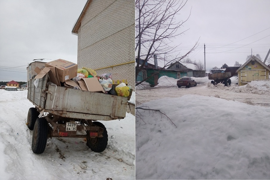 """""""Рокировочка!"""": телегу, в которую собирали мусор в Великом Устюге, установили в деревне Юдино"""